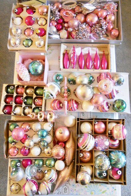 Vintage Pastel Coloured Christmas Tree Decorations Ornamen