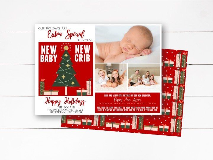 new baby new crib christmas card birth and moving announc