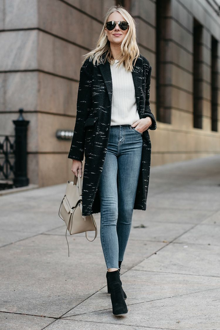 Blonde Woman Wearing Black Sweater Coat White Sweater Denim Skinny Jeans  Black Booties Celine Mini Belt Bag Fashion Jackson Dallas Blogger Fashion  Blogger ... cbda185d5ac4e