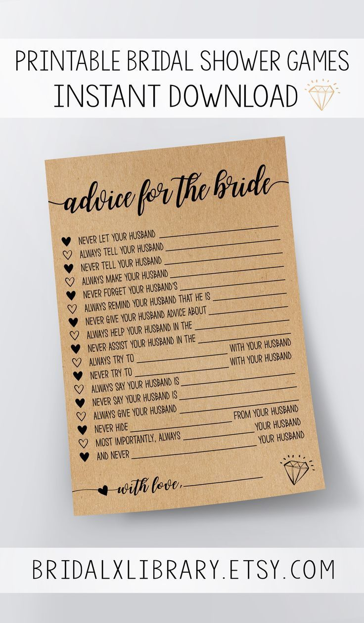 advice for the bride bridal shower games printable bridal shower game idea bridal shower instant download wedding game kraft paper game