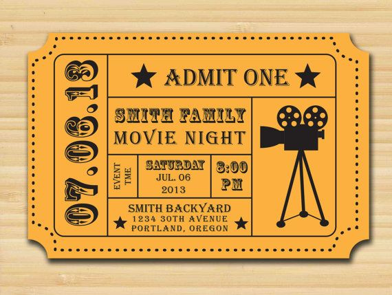 movie night party invitation admission ticket ticket inv