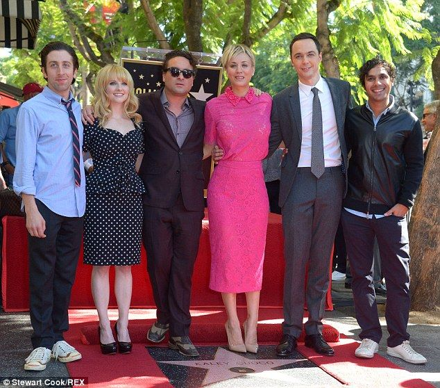 Some of my favs!  Her co-stars: The actress celebrated with the cast of her hit CBS show including (left to right) Simon Helberg, Melissa Rauch, Johnny Galecki, Kaley, Jim Parsons and Kunal Nayyar