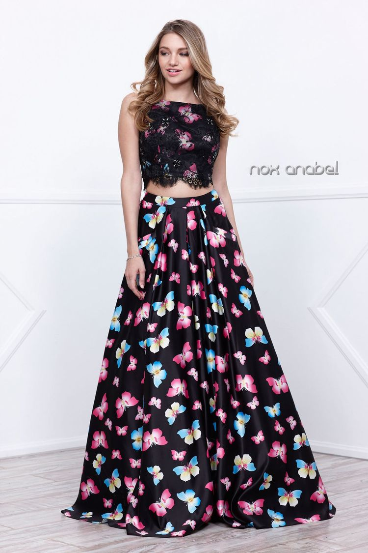 003f9e6a1a9 Long Two-Piece Crop Top Butterfly Print Dress by Nox Anabe