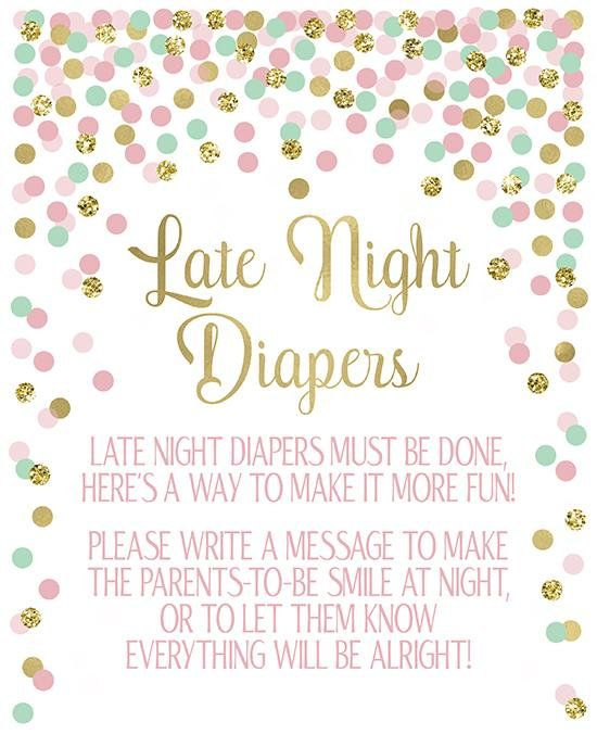 graphic relating to Late Night Diaper Sign Free Printable named Late Night time Diapers Indicator Printable Woman