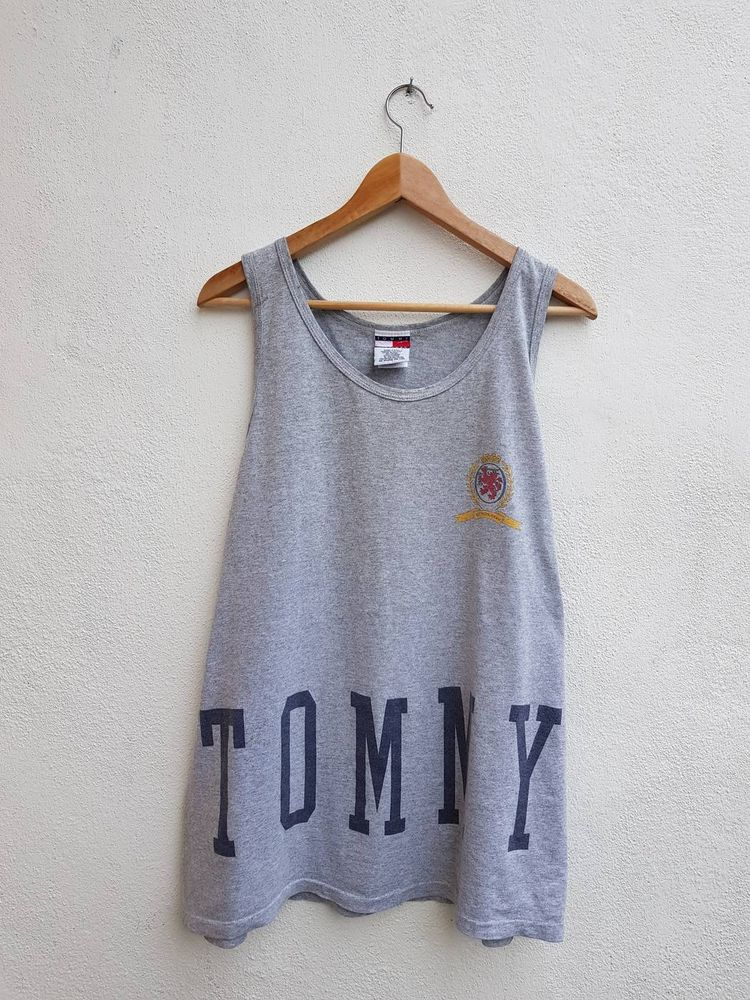 191ab2e2f3 RARE Vintage 90s TOMMY HILFIGER Spell Out Big Flag Hip Hop Vibes Streetwear  Tanks Tops Shirt Size L
