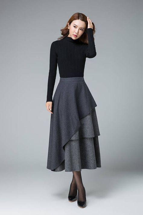 27280801ff Gray Wool skirt, maxi winter skirt, layered skirt, high wa