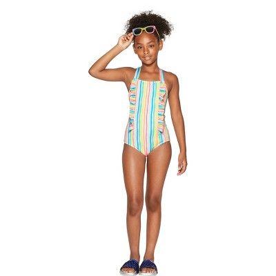 58700b86e33 Girls  Rainbow Stories One Piece Swimsuit - Cat   Jack White XL Plus