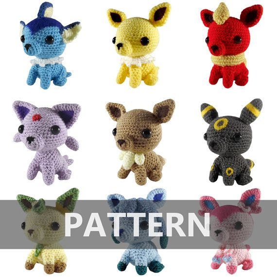 PATTERN Eevee + All 8 Evolutions Amigurumi Crochet Plushes