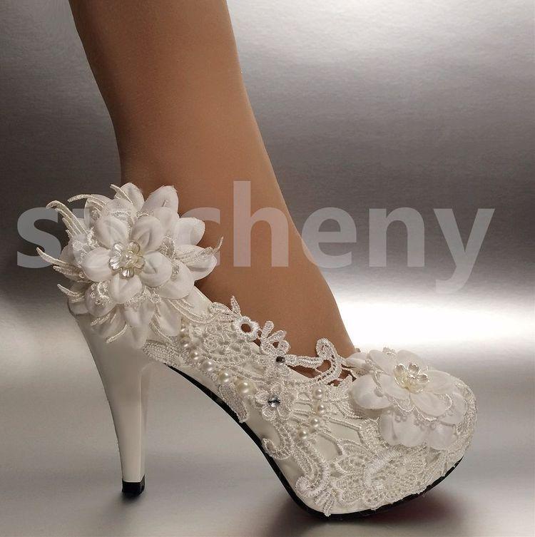 "0e92a4b8ba7 su.cheny 2 3 4"" White ivory heels lace ribbon crystal pearl Wedding bridal  shoes"