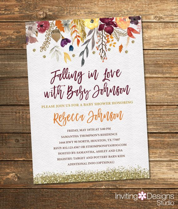 fall baby shower invitation autumn baby shower watercolo