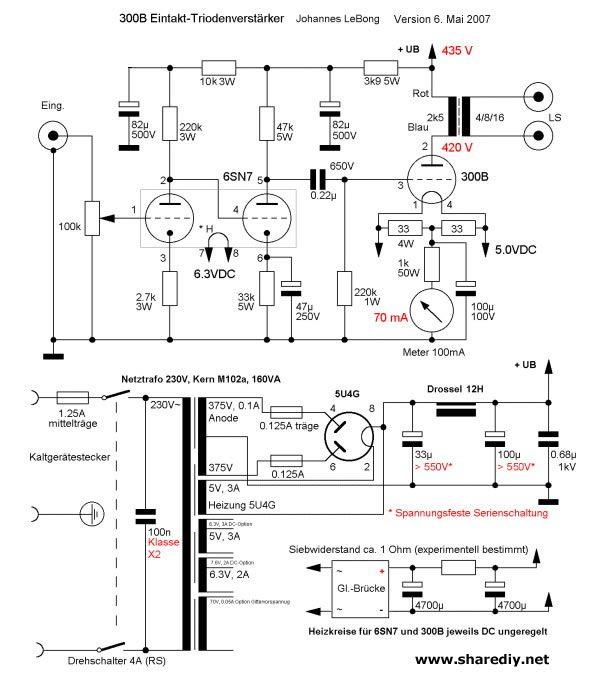 开工做一台6sn7+300B单端胆机