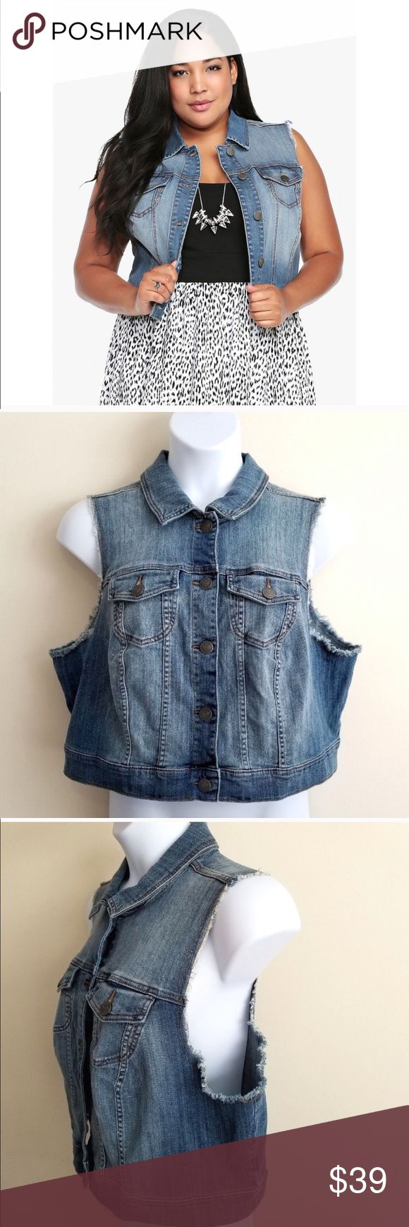 e3d9f705cb3 Torrid Cropped Denim Vest Torrid cropped denim jean vest
