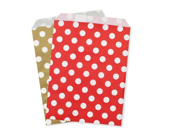 Party Favor Bag Paper Bags Gold And Red Polka Dot