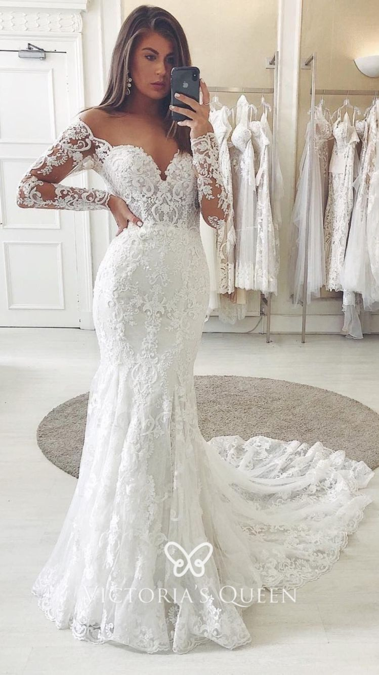 Sweetheart Off Shoulder Long Sleeve Lace Wedding Dress An Immersive Guide By Victoria S Queen [ 1333 x 749 Pixel ]