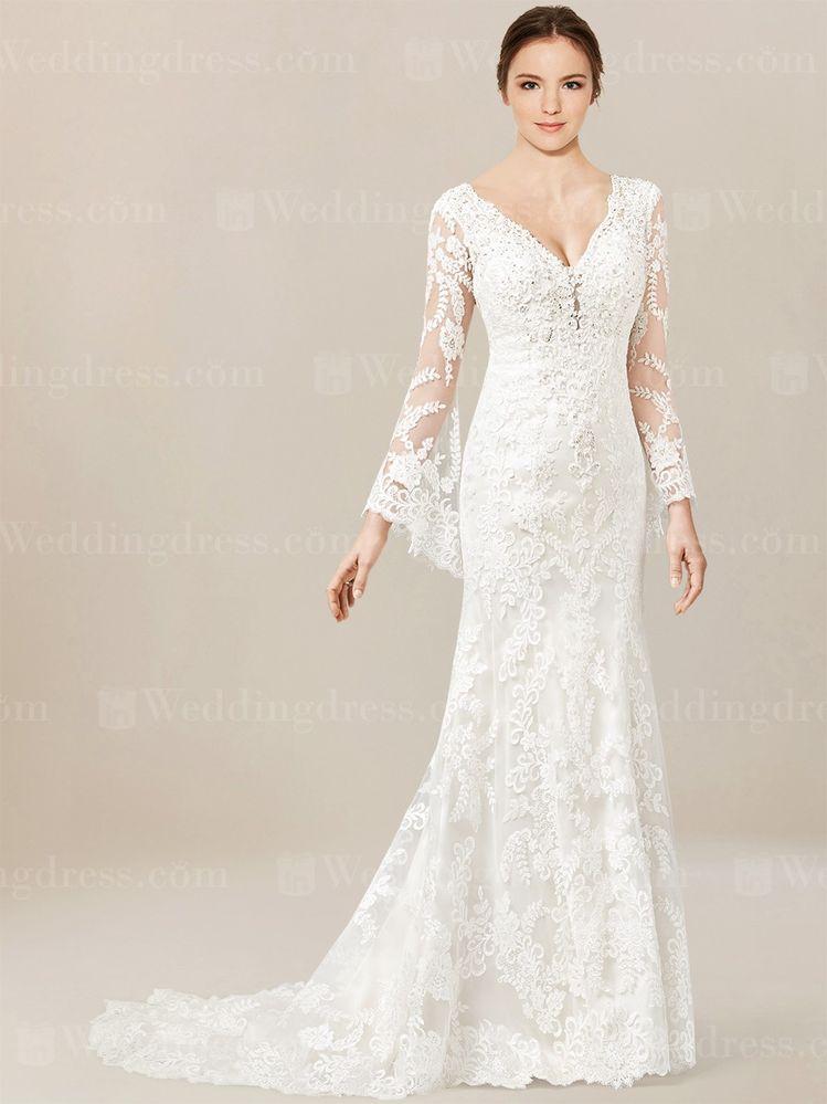 7851db6eeb Lace Wedding Dress with Long Sleeves SV72