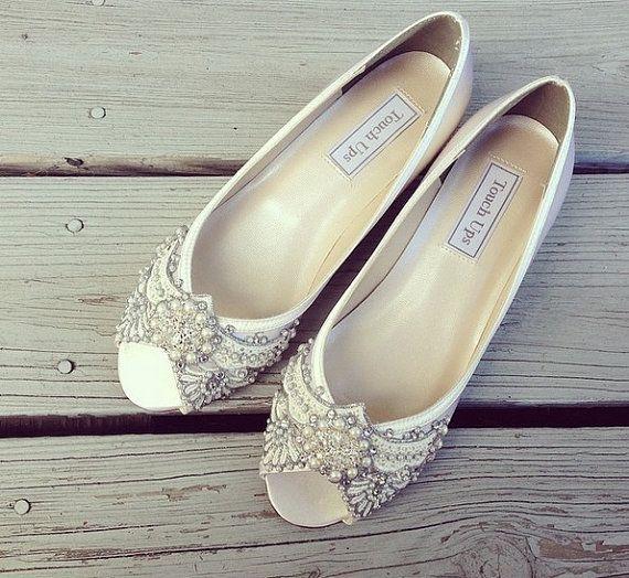 Hochzeitsschuhe Art Deco Inspiriert Peep Toe Keil Spitze