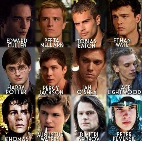 The men of my favorite books ❤ But where are the Weasley twins... Jacob Black?