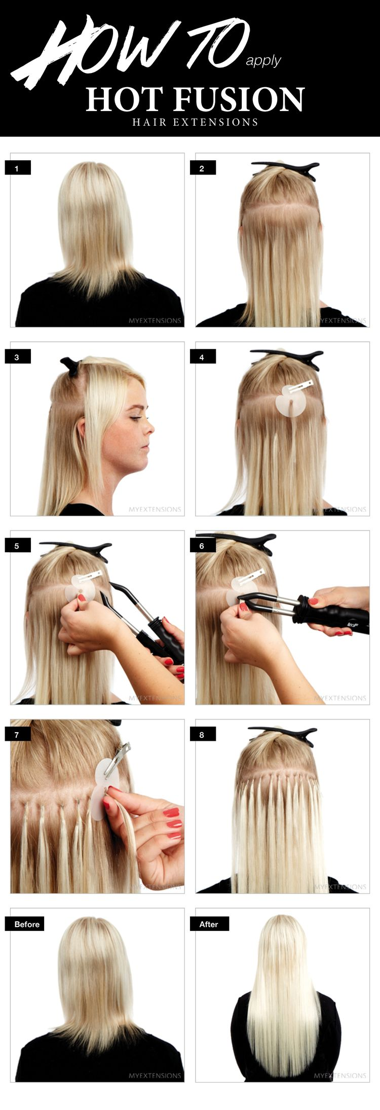 how to put in clip in hair extensions - step by step