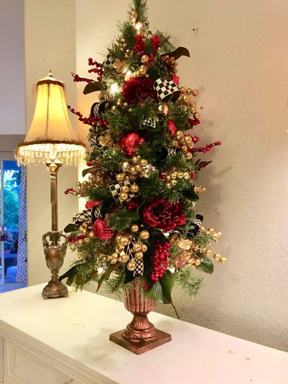 Topiary Christmas Tree 42 High Pre Lit 100 Led Light Artificial Everlasting Free Shipping