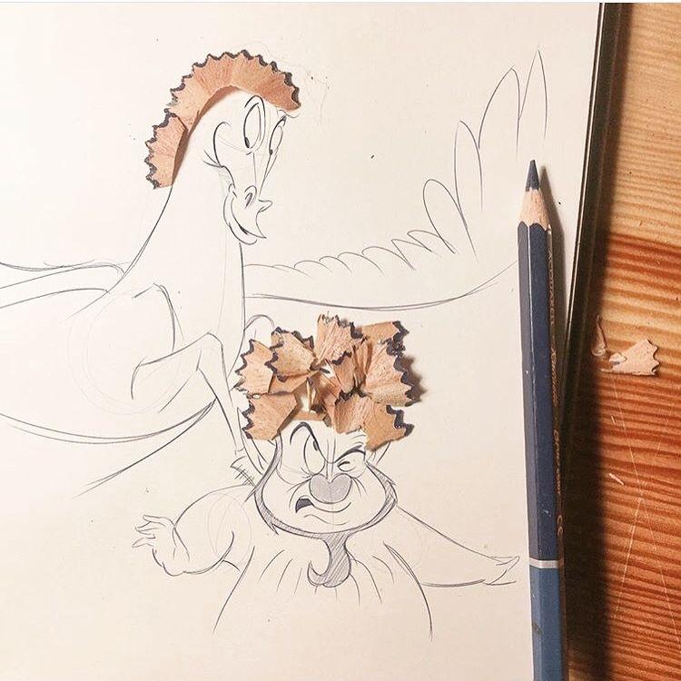 "🌪Luigi kemo Volo🌪 on Instagram: ""✏️pencil sharpener and creativity✏️ . . . . #disney  #disneyart #paper #pen #pencil ##instaartist #graphic #illustrations #artwork #freak…"""