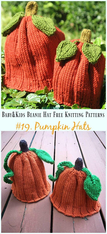 Pumpkin Hats Knitting Free Pattern Baby Kids Beanie H