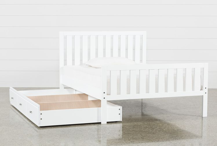 bd893b9fdcd7 Taylor White Full Slat Panel Bed With Trundle