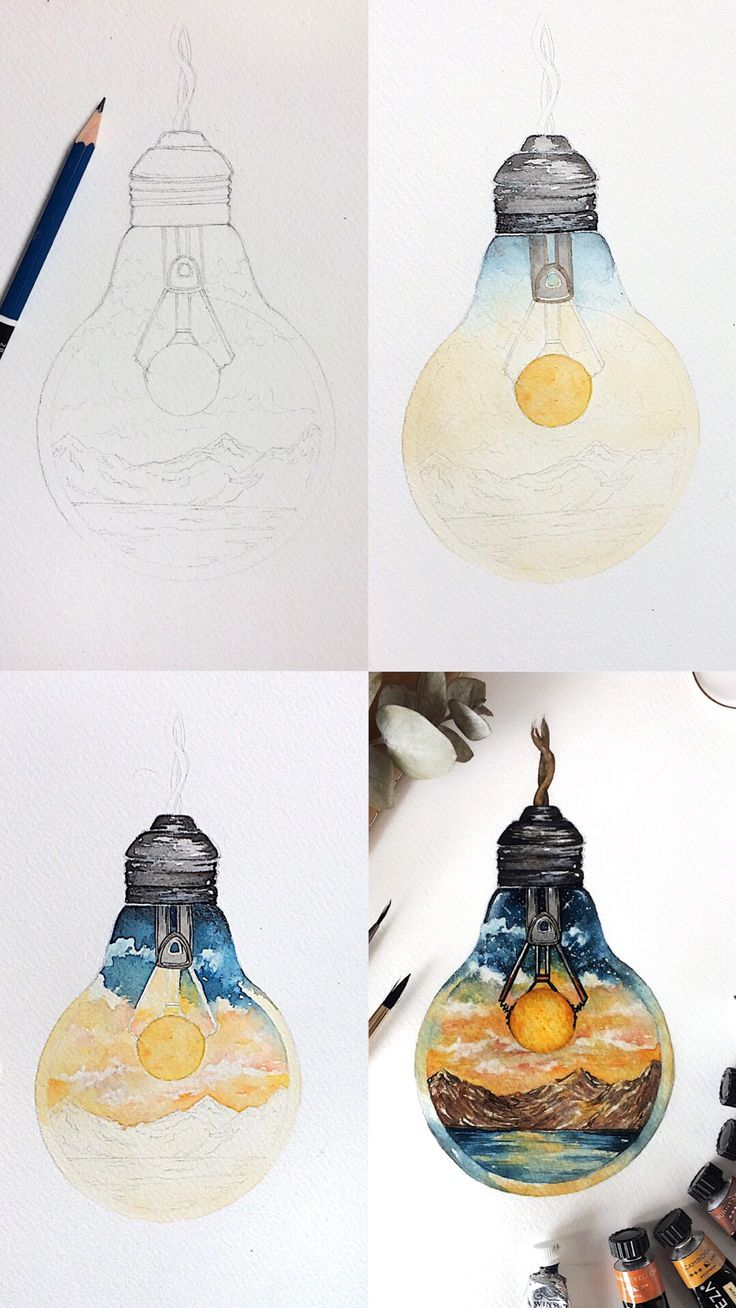 Step by step process photos of a watercolor illustration of a lightbulb. Mini tutorial for those who want to see how I painted this piece. #tutorials #artlessons #artpainting #artwork #arttechniques #artist #artteacher #artteachersofinstagram #artsy #watercolor #watercolorarts #paintingtips