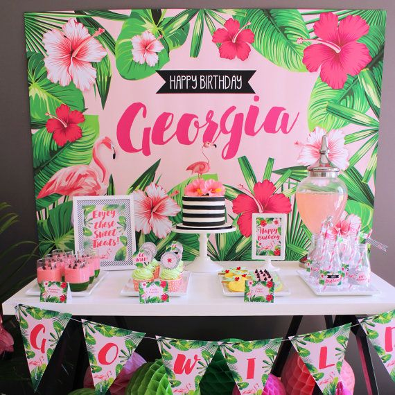 Flamingo Backdrop Design For Birthday Party Tropical Sty