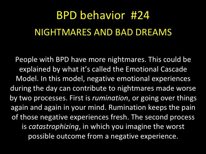 BPD BEHAVIOR - NIGHTMARES - People with BPD have more night