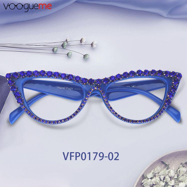f2634c926 Cathleen Blue Cat Eye Glasses VFP0179-02