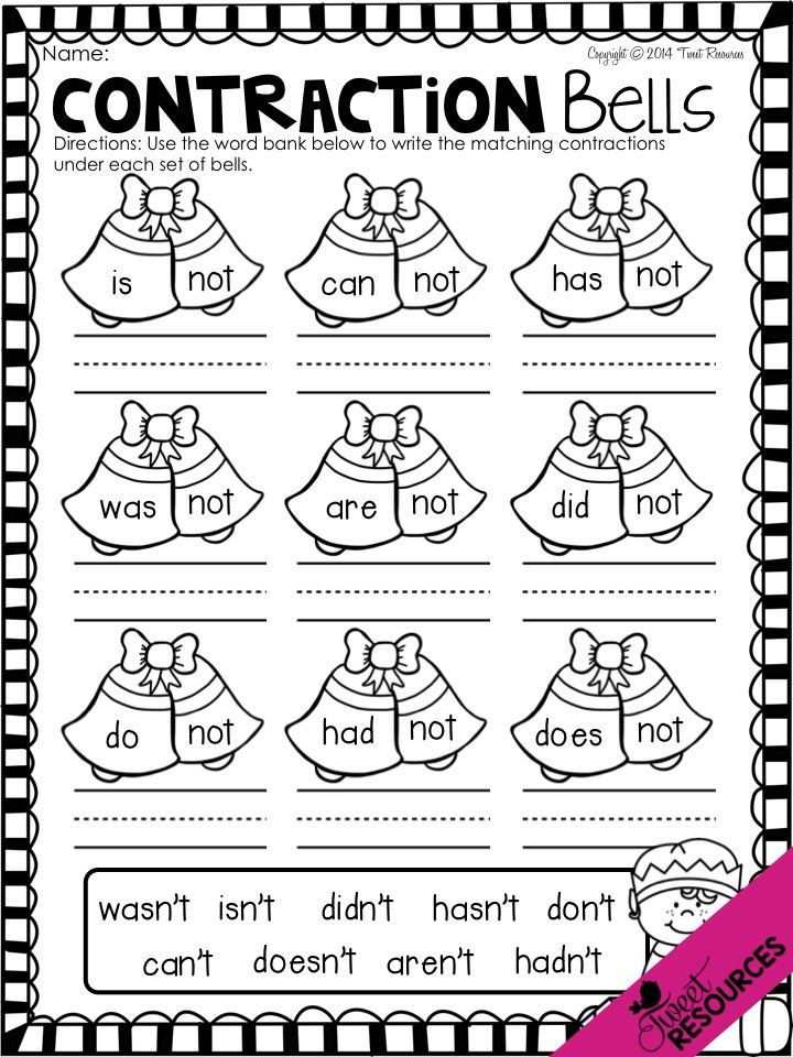 Contraction Bells from Christmas On The Go NO PREP Printabl
