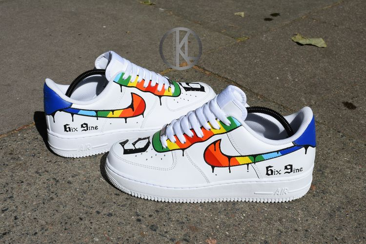 Nike Air Force 1 6ix9ine CustomsAfter a load of emails and dms ive decided to make this custom available to order.I will be limiting these to only 25 pairs so dont miss out.Once the work has started please allow upto 2 weeks for your order to be dispatched.Because these are made to order please make sure you order your correct size as there is a no returns policy.Thank youKieronKLcustoms