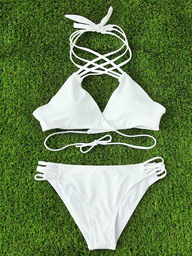 3832aaa3bb Shop Criss Cross Strappy Wrap Bikini Set online. SheIn offers Criss Cross  Strappy Wrap Bikini