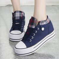 Fashion Increased Canvas Lace Up Plaid Sneakers - Thumbnail 2