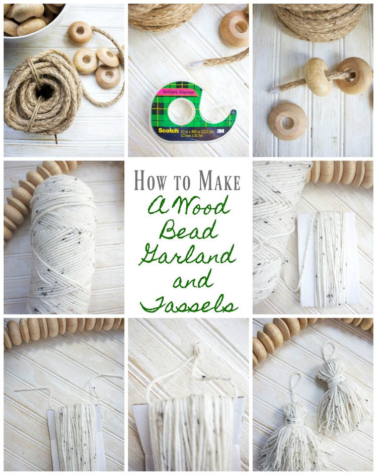 """How to make a wood bead garland with tassels. Wood bead craft. Make a tassel with yarn. Home decor magazines and specialty shops are full of wonderful ideas and inspiration. Staying true to our """"get-the-look-for-less"""" attitude we will show you how to make a wood bead garland with tassels. Currently wood bead garlands are all the rage in home decor. Whether your style is traditional, farmhouse, boho chic or anything else these ... Read More about  How to Make a Wood Bead Garland With Tassels"""