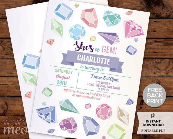 gem invitations birthday invites girls crystals party inst