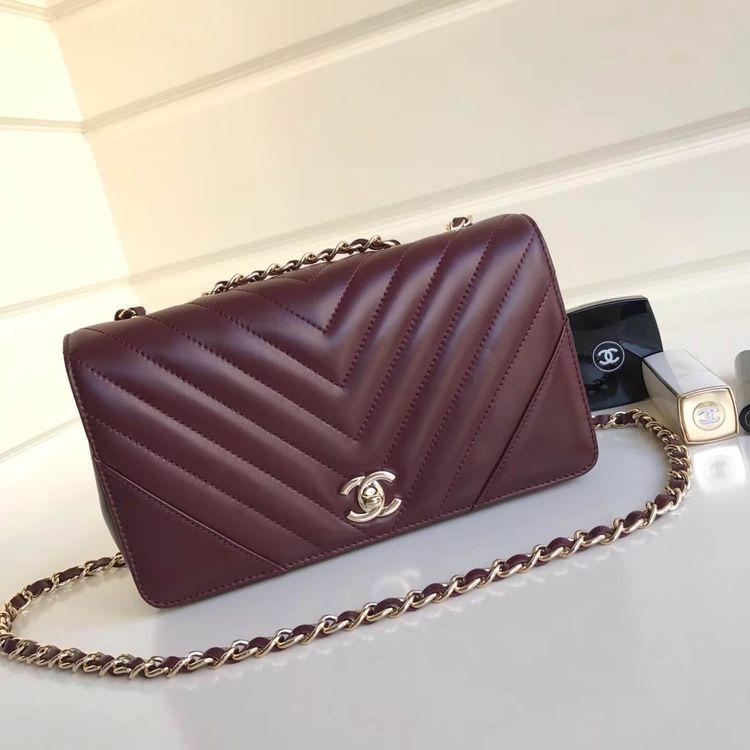 3a636fa87ed8 Chanel Calfskin Chevron Statement Medium Flap Bag A91588 Burgundy 2017