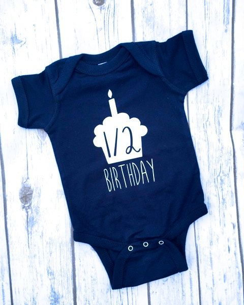 bec3306b5 Half Birthday Boy Onesie  | 6 month Birthday Onesie  | 6 Month Onesie