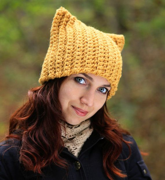 a2550559080 Yellow adult Cat ears hat Chunky crochet mustard soft beanie Winter knit  animal unisex cat lover gif