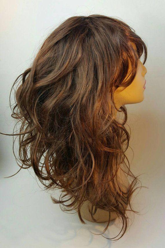Mid Length Wavy A Line Brunette Wig Brunette A Line Bob Wi