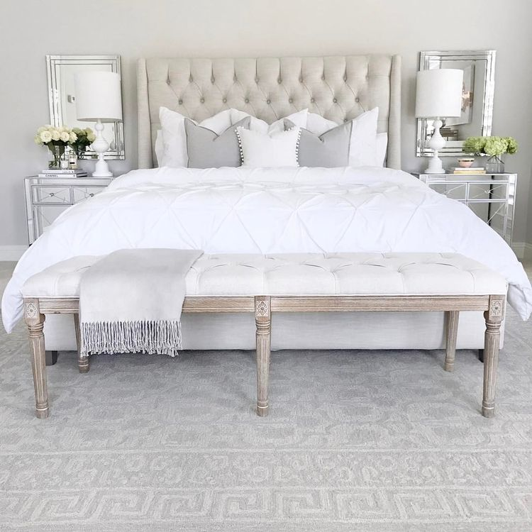 White Bedding And Pillows Crystal Table Lamp Diptyque Candle Anthropologie Bedroom Inspo Decor Pottery Barn Barrett Rug