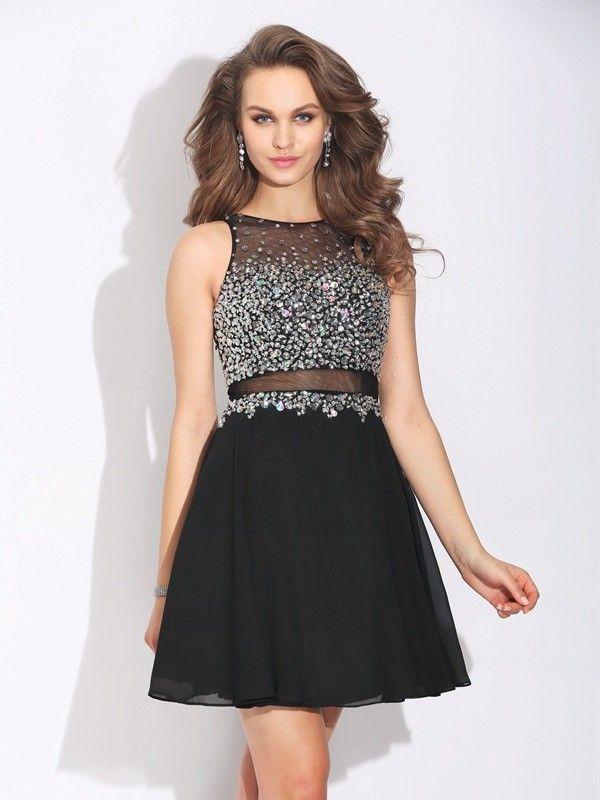 ad48bbe187d A-Line Jewel Beading Short Chiffon Prom Dresses