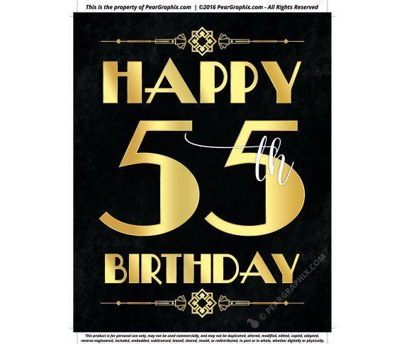 Happy 55th Birthday Sign Printable Decor Roaring 20s Gatsby Party Decoration