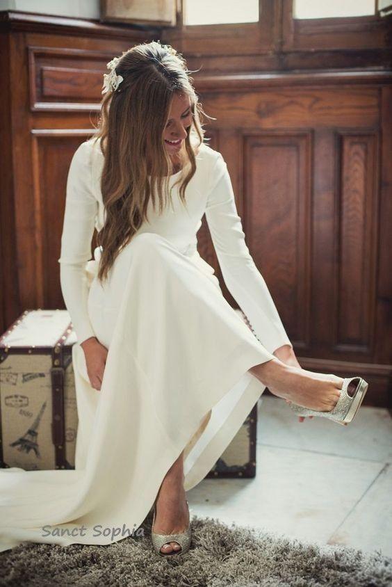 Simple Long Sleeve Low Back Wedding Dress from Sancta Sophia