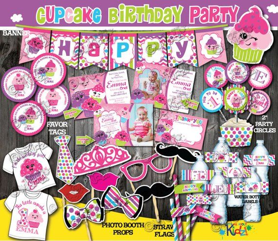 Cupcake Birthday Decoration Package First Decor 1st Invite Party Printable