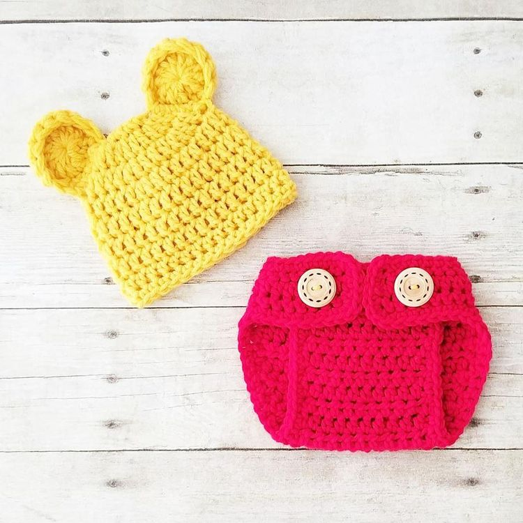679be58c5aa Crochet Baby Pooh Bear Hat Beanie Diaper Cover Set Winnie The Pooh Infant  Newborn Baby Handmade Photography Photo Prop Baby Shower Gift