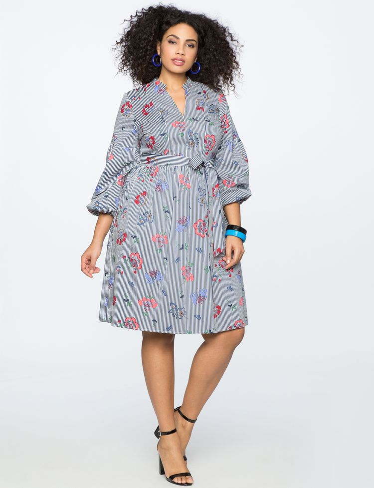1609c7be1 Printed Pinstripe Fit And Flare Dress | Women's Plus Size Dresses