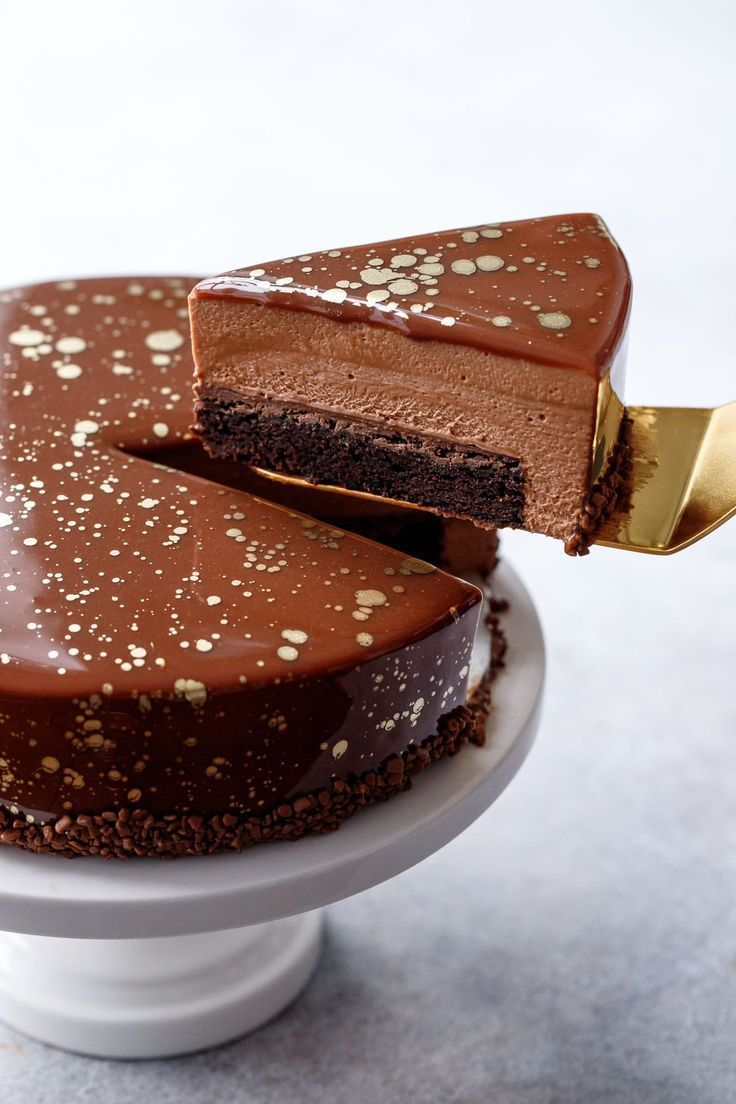 Nutella Brownie Mousse Cake with Milk Chocolate Mirror Glaze | Love and Olive Oil