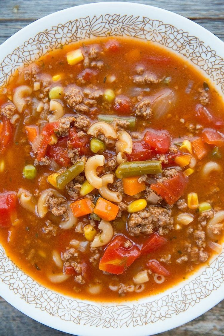 Making Hamburger Soup With Macaroni turns your normal hamburger soup into a full meal deal! Kids and adults alike love this recipe!