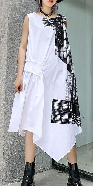 Natural o neck asymmetric Cotton white Dress summer